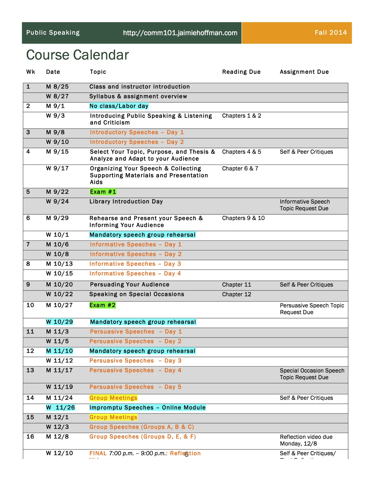 Calendar Course_Syllabus_Hoffman_COMM_101_Fall_2014_REVISED